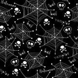 Halloween-Muster. Spinnen auf den Netzen nahtlos Lizenzfreies Stockbild