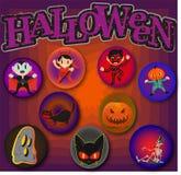 Halloween-Muster-Stifte von Zeichentrickfilm-Figuren Lizenzfreie Stockfotografie