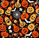 Halloween-Muster von netten Kürbisen Stockbild