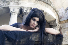 Halloween Mysterious Dressed Gothic Woman Royalty Free Stock Photos