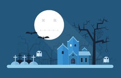 Halloween Mystic Landscape. Halloween landscape with full moon night, old haunted mansion, cemetery and gallows tree. Horror or scary story place vector card Stock Image