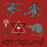 Halloween mystic set. Mystic Halloween set with funny demons, pentacle symbol, burning candle and scary rat on red background stock illustration