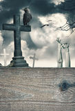 Halloween mystical background with cross and wooden frame Royalty Free Stock Photography