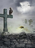 Halloween mystical background with raven, cross on stone wall Stock Photo