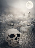 Halloween mystical landscape with skull royalty free stock images