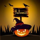 Halloween-mystieke illustratiepompoenen, silhouettenknuppels en kraai Eps 10 Stock Fotografie