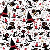 Halloween naadloos met de dingenheksen Stock Fotografie