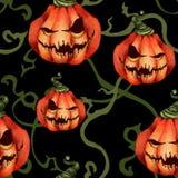 Halloween Naadloos patroon van sinistere pompoenen en spruiten Griezelig gezicht op een zwarte verschrikking vector illustratie