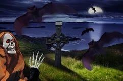 Halloween-nacht, de donkere nacht van Halloween met vliegende knuppels Royalty-vrije Stock Foto