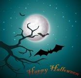 Halloween-nacht met knuppels en boom Royalty-vrije Stock Fotografie