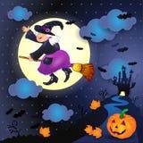 Halloween-nacht met oude heks, kasteel en pompoen Stock Foto