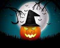 Halloween-nacht met pompoenen Royalty-vrije Stock Foto