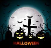 Halloween-nacht met pompoenen Royalty-vrije Stock Afbeeldingen
