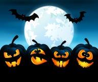 Halloween-nacht met pompoenen Stock Foto's