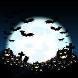 Halloween-nacht met pompoenen en blauwe Maan royalty-vrije illustratie