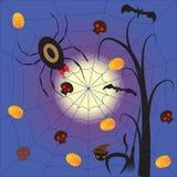 Halloween-nacht met spinduivel Royalty-vrije Stock Foto's