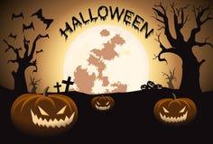 Halloween-nacht met volle maan en pompoenen Stock Foto's