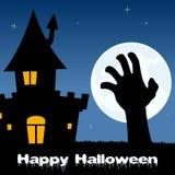 Halloween-Nacht mit der Zombie-Hand u. Haus Stockfotos