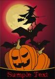 Halloween-Nacht mit Hexe Stockbild