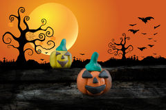 Halloween-Nacht mit Plasticine auf dem Mondhintergrund Lizenzfreies Stockbild
