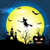 Halloween-Nacht mit trockenem Baum des Schattenbildes, alte Hexe, Schloss, Kürbis und Schläger vector Illustrationshintergrund Lizenzfreies Stockbild