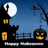 Halloween-Nacht - Pompoenspookhuis Royalty-vrije Stock Afbeeldingen