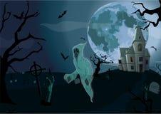 Halloween-Nacht: schönes Schlosschateau des Vollmonds, Tor, Geist Stockfotografie