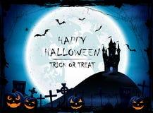 Halloween-nachtachtergrond met kasteel en blauwe Maan Royalty-vrije Stock Fotografie