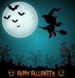 Halloween-nachtachtergrond met vliegende meisjeheks in bezemsteel op de begraafplaats Royalty-vrije Stock Foto's