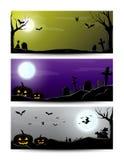 Halloween-nachtbanner Stock Foto's