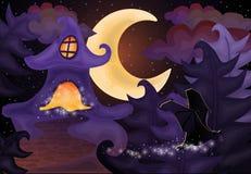Halloween-nachtbehang met spookhuis Stock Foto's
