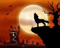 Halloween-Nachthintergrund mit dem Wolfheulen, Schloss und Vollmond Lizenzfreie Stockfotografie
