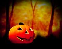 Halloween-Nachthintergrund mit furchtsamem dunklem Wald und Kürbis Stockbild