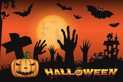 Halloween-Nachthintergrund mit Schloss und furchtsamen Kürbisen Stockbilder