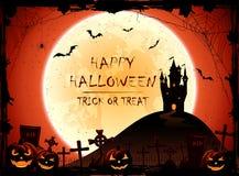 Halloween-Nachthintergrund mit Schloss und Mond Stockfotos