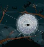 Halloween-Nachthintergrund mit Vollmond Lizenzfreie Stockfotografie