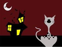 Halloween-nachtkat stock illustratie