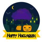 Halloween-Nachtlandschaftshintergrund Lizenzfreie Stockfotografie