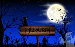 Halloween-Nachttapete mit Zombies, Katze und Vollmond Stockfotografie