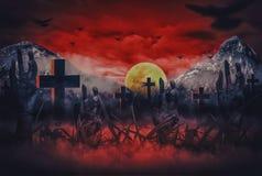 Halloween-nachtverschrikking met zombiehanden die uit hel in begraafplaats, met het Bloed van de bloedhemel en maan porren stock illustratie