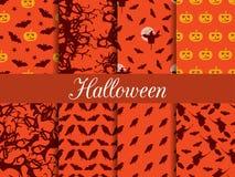 Halloween-nahtlose Muster Muster mit Lampe Jack, Hexe mit Schlägern und Krähen Lizenzfreie Stockfotos