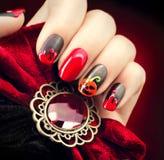Halloween nail art design stock photos