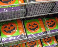 Halloween Napkins. A rack containing packages of paper serviettes for a Hallowe'en party royalty free stock photography