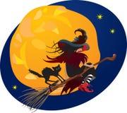 Halloween natt: häxa och svart katt Arkivbild