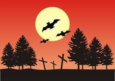 halloween nattplats Royaltyfri Illustrationer