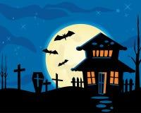 halloween natttema royaltyfri illustrationer