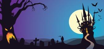 Halloween Nawiedzał Drzewnego cmentarza kasztel royalty ilustracja