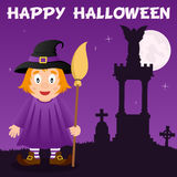 Halloween Necropolis and Cute Witch Royalty Free Stock Photo