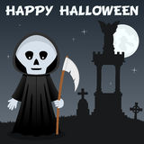 Halloween Necropolis and Grim Reaper. Happy Halloween night card with Grim Reaper in a necropolis with full moon on a dark sky background. Eps file available Stock Photos