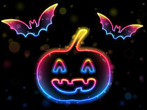 Halloween Neon Background Stock Photo